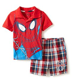 Spiderman Boys' 2T-7 2-Pc. Knit Polo And Plaid Shorts Set