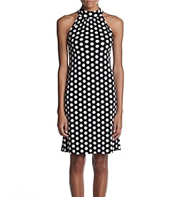 MICHAEL Michael Kors Polka Dot Pattern Mock Neck Dress