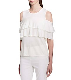 Calvin Klein Flutter Sleeve Cold Shoulder Sweater