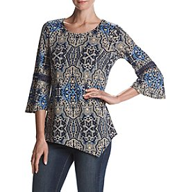 Studio Works Abstract Regal Pattern Lace Detail Asymmetrical Hem Top