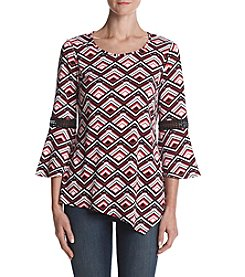 Studio Works Geometric Pattern Lace Inset Detail Asymmetrical Hem Top