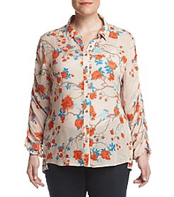 Democracy Plus Size Floral Printed Drawstring Blouse