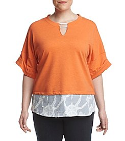 Democracy Plus Size Keyhole Layered Look Top
