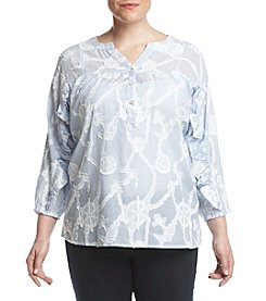 Democracy Plus Size Nautical Pattern Blouse