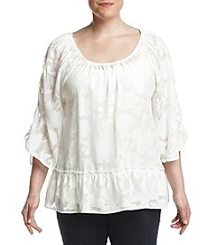 Democracy Plus Size Ruffled Hem Pattern Blouse