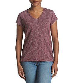 Ruff Hewn Petites' Button Back Striped Pattern V-Neck Tee
