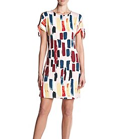 Ruff Hewn GREY Tie Sleeve Abstract Paint Pattern Dress