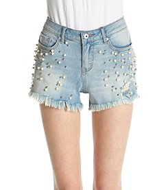 Hippie Laundry Faux Pearl And Bead Detail Frayed Hem Shorts