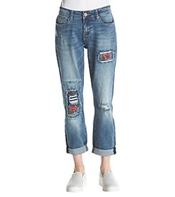 Hippie Laundry Distressed Floral Embroidery Detail Cropped Jeans