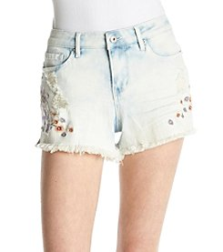 Hippie Laundry Frayed Hem Floral Embroidery Detail Shorts