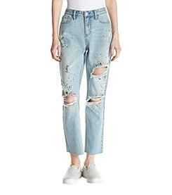Hippie Laundry Jewel Detail Destructed Frayed Hem Cuff Ankle Jeans