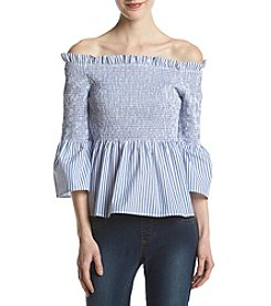 Hippie Laundry Striped Pattern Smocked Off The Shoulder Top
