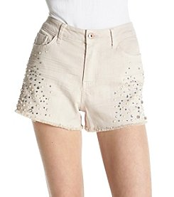 Hippie Laundry Faux Jewel And Pearl Detail Frayed Hem Cuff Shorts