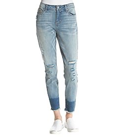Hippie Laundry Faded Distressed Detail Frayed Hem Cuff Ankle Jeans