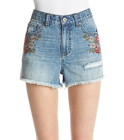 Hippie Laundry Floral Embroidery Stud Detail Frayed Hem Cuff Shorts