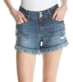 Hippie Laundry Distressed Detail Frayed Hem Cuff Shorts