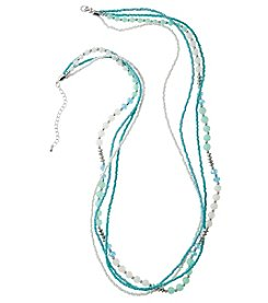 Studio Works Four Row Aqua Multi Beaded Necklace