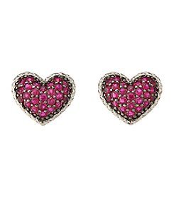 Effy Sterling Silver Ruby Heart Earrings