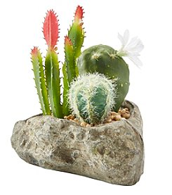Urban Zen White Flower Cactus In Rock Pot