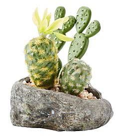 Urban Zen Yellow Flower Cactus In Rock Pot