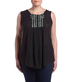 Lucky Brand Plus Size Bead And Embroidery Detail Top