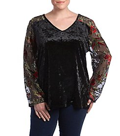 Adiva Plus Size Floral Embroidery Applique Detail Velvet Top
