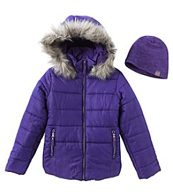 Hawke & Co. Girls' 7-16 Puffer Jacket With Faux Fur