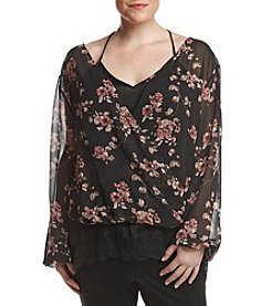 Skylar & Jade by Taylor & Sage Plus Size Printed Wrap Lace Cami Top