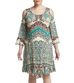 Oneworld Plus Size Cold Shoulder Printed Dress