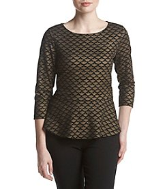 Ivanka Trump Metallic Jacquard Peplum Top
