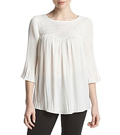 Ivanka Trump Beaded Pleated Hem Top