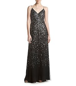 Adrianna Papell Multi Sequin Long Dress