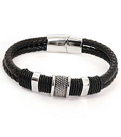 Steel Impressions Men's Black Leather Bracelet