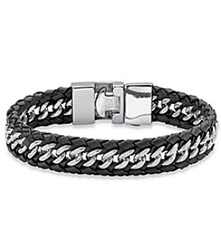 Steel Impressions Men's Leather Chain Bracelet