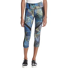 Calvin Klein Performance Multicolored Abstract Lines Pattern Cropped Leggings