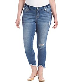 Celebrity Pink Plus Size Destructed Ankle Jeans