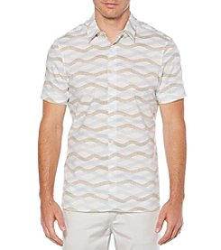 Perry Ellis Men's Big & Tall Short Sleeve Wave Button Down