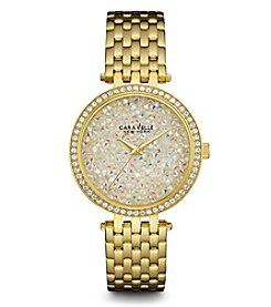Caravelle Women's Crystal Goldtone Braclet Watch