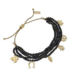 Canvas Goldtone And Black Beaded Charm Bracelet