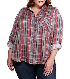 Lucky Brand Plus Size Woven Plaid Top