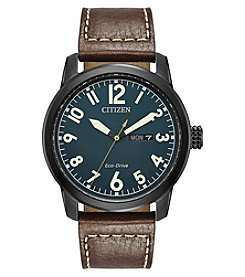 Citizen Eco-Drive Men's Ion Plated Leather Chandler Watch