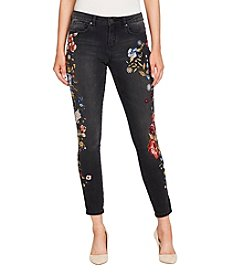 William Rast Black Wash Floral Embroidery Detail Perfect Skinny Jeans