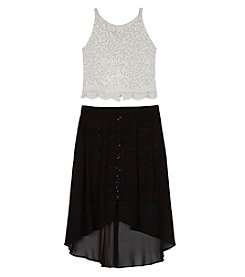 Amy Byer Girls' 7-16 Lace Top and Black Skirt Set