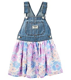 OshKosh B'Gosh Girls' 2T-5T Overall Dress With Floral Skirt