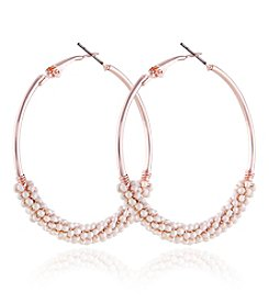 Robert Rose Rose Goldtone Large Beaded Hoop Earrings