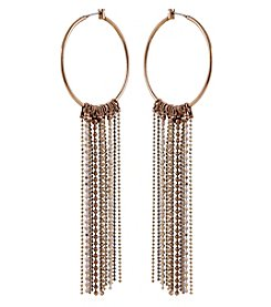 Robert Rose Rust Goldtone Tassel Hoop Earrings