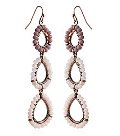 Robert Rose Rust Goldtone Teardrop Earrings