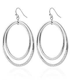 Robert Rose Silvertone Double Hoop Earrings