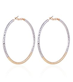 Robert Rose Two Tone Large Hoop Earrings