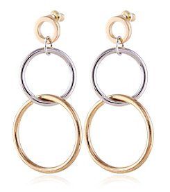 Robert Rose Two Tone Ring Double Drop Earrings